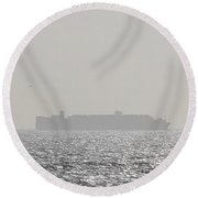 Round Beach Towel featuring the photograph Cargo Au Large by Marc Philippe Joly