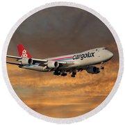 Cargolux Boeing 747-8r7 3 Round Beach Towel