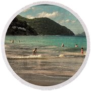 Round Beach Towel featuring the photograph Caribbean Beach Scenic In Grunge by Rosalie Scanlon