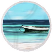 Caribbean Dream Boat Round Beach Towel