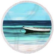 Caribbean Dream Boat Round Beach Towel
