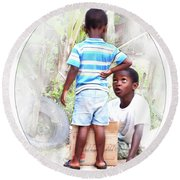 Caribbean Kids Illustration Round Beach Towel