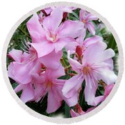 Round Beach Towel featuring the photograph Caribbean Oleander by Marie Hicks