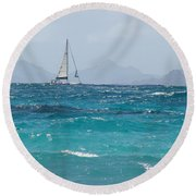 Round Beach Towel featuring the photograph Caribbean Sailing by Margaret Bobb