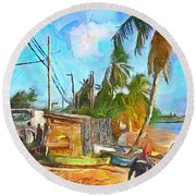 Round Beach Towel featuring the painting Caribbean Scenes - Beach Village by Wayne Pascall