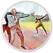 Caribbean Scenes - Obama And Bolt In Jamaica Round Beach Towel