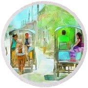 Caribbean Scenes - Carriage Ride Round Beach Towel