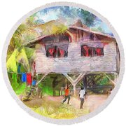 Caribbean Scenes - Country House Round Beach Towel