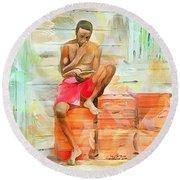 Caribbean Scenes - Diamond In The Rough Round Beach Towel