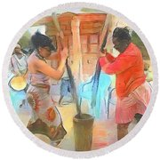 Caribbean Scenes - Mortar And Pestle In De Country Round Beach Towel