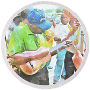 Round Beach Towel featuring the painting Caribbean Scenes - Parang Musicians by Wayne Pascall