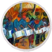 Caribbean Scenes - Steel Band Practice Round Beach Towel by Wayne Pascall