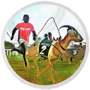 Caribbean Scenes - Goat Race In Tobago Round Beach Towel by Wayne Pascall