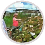 Round Beach Towel featuring the painting Caribbean Scenes - De Coconut Vendor by Wayne Pascall