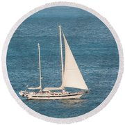 Round Beach Towel featuring the photograph Caribbean Scooner by Gary Slawsky