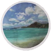 Round Beach Towel featuring the pastel Caribbean Sea Day Antigua by Robin Maria Pedrero