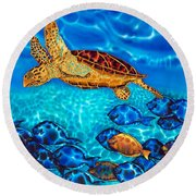 Caribbean Sea  Turtle And Reef  Fish Round Beach Towel