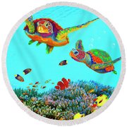 Caribbean Sea Turtles And Reef Fish Vertical Round Beach Towel