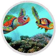 Caribbean Sea Turtles Round Beach Towel
