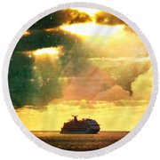 Caribbean Sunset Cloud Art Round Beach Towel