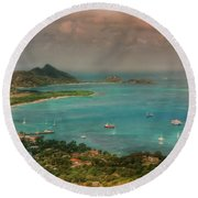 Round Beach Towel featuring the digital art Caribbean Symphony by Hanny Heim