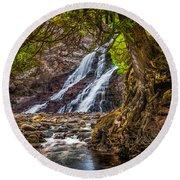 Caribou Falls In Fall Round Beach Towel