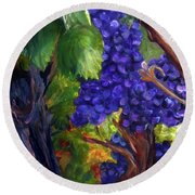 Round Beach Towel featuring the painting Carigane Grapes by Donna Walsh
