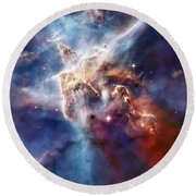 Carina Nebula Pillar Round Beach Towel
