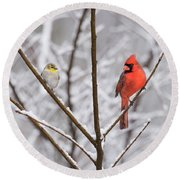 Goldfinch And Cardinal Round Beach Towel