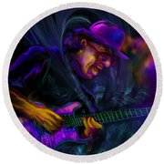Round Beach Towel featuring the painting Carlos Santana by DC Langer