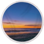 Carlsbad Jetty Sunset Round Beach Towel
