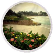 Carmel Beach And Iceplant Round Beach Towel