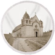 Carmel Mission South Side Circa 1915 Round Beach Towel by California Views Mr Pat Hathaway Archives