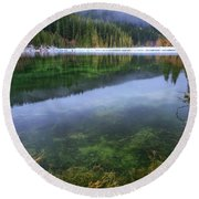 Round Beach Towel featuring the photograph Carmen Reservoir by Cat Connor