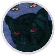 Carmilla - Black Panther Vampire Round Beach Towel