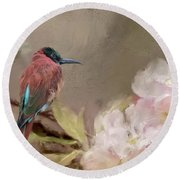 Carmine Bee-eater Round Beach Towel by Eva Lechner