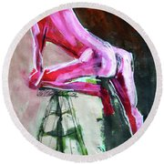 Round Beach Towel featuring the painting Carmine Figure No. 3 by Nancy Merkle
