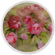 Carmine Rose Round Beach Towel