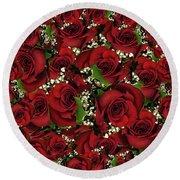 Carmine Roses Round Beach Towel
