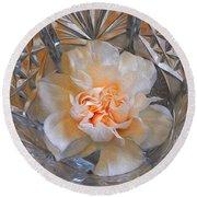 Carnation In Cut Glass 7 Round Beach Towel