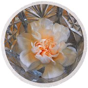 Carnation In Cut Glass 7 Round Beach Towel by Lynda Lehmann