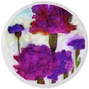 Round Beach Towel featuring the painting Carnations by Julie Maas