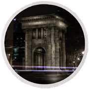 Carnegie Monument Round Beach Towel