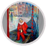 Carnaval In Venice Round Beach Towel
