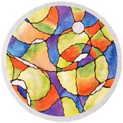 Carnival Balloons Watercolor Round Beach Towel