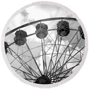 Round Beach Towel featuring the photograph Carnival Ferris Wheel Black And White Print - Carnival Rides Ferris Wheel Black And White Art Prints by Kathy Fornal