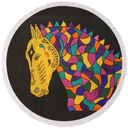 Carnival Stained Glass Tribal Horse Round Beach Towel by Susie WEBER