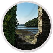 Round Beach Towel featuring the photograph Photographs Of Cornwall Carnon Mine Window by Brian Roscorla