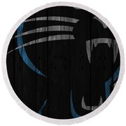 Caroilina Panthers Wood Fence Round Beach Towel
