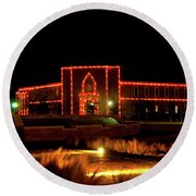 Round Beach Towel featuring the photograph Carol Of Lights At Science Building by Mae Wertz